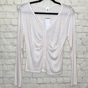 Planet Gold ruched white glittery top